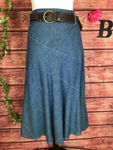 JM Collection Skirt 12 Petite Denim Jean A Line Calf Midi Belt Western Boho Slim