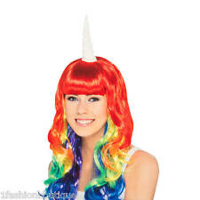 Claire's Halloween Rainbow Fashion Wig With Unicorn Horn One Size NIP