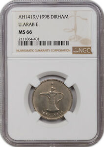 AH1419// 1998 1 DIRHAM UNITED ARAB EMIRATES NGC MS 66 ONLY 1 GRADED HIGHER.