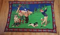 VINTAGE ♡ CAT TAPESTRY WALL HANGING ♡  CATS PLAYING GOLF AND SMOKING ♡ FABULOUS