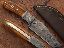 "Recon Tanto Damascus Steel Skinner Knife Olive Wood Handle ""From My Cold Hands"""