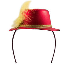 MINI TOP HAT HEADBAND RED METALLIC  WITH FEATHER