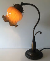 GOOSE NECK DESK TABLE LAMP WITH BROWN RUFFLED TORTOISE SHELL GLASS SHADE