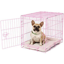 Carlson Pet Products Foldable Small Portable Single Door Dog Crate Kennel, Pink