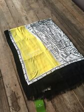 Kate Spade New York 'New York CITY MAP' Yellow, Black, White Scarf, BNWT