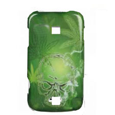 For Huawei Ascend M860 Hard Protector Snap on Phone Case Cover Green Skull Weed
