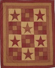 Hand Quilted Hanging Blanket Throw Country Patchwork Burgundy Red Ninepatch Star