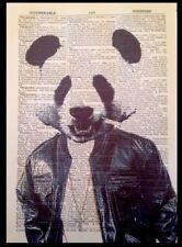 Panda Vintage Dictionary Page Wall Art Picture Print Animal In Clothes Man Cave