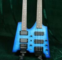 Starshine Double Neck Headless Electric Bass Guitar Figured Maple Top Quality