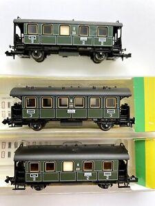 3er Set Minitrix 13315 13316 K.Bay.Sts.B. Personenwagen Rärität grün Spur N