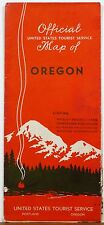 1930's Oregon Official United States Tourist Service Map with advertising b
