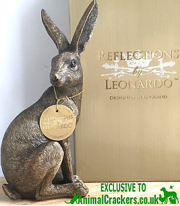 Large 22cm Leonardo Bronze Sitting Hare ornament figure Hare lover Easter gift