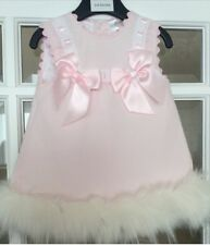 Baby Girl Wee Me Pink Dress With Fur Trim 0-6, 6-12, 12-18 & 18- 24 Month