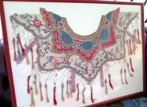 """.c1860 CHINESE QING DYNASTY WEDDING CEREMONIAL EMBROIDED SILK """"CLOUD COLLAR"""""""