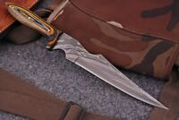 """11""""Hand Forged Damascus Dagger Boot Knife W/ Stained Wood Handle+ Leather Sheath"""