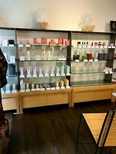 Aveda Retail Wall Unit Steel Top With Glass Shelves And Storage Drawers