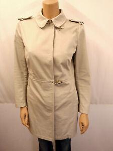 FAY Designer Mantel Gr.L 40 Coat Jacke Schulterriegel Baumwollmischung Beige