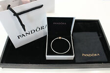 """""""New never used"""" Authentic Pandora Silver Bangle 21cm 14K Gold Plated Clasp"""
