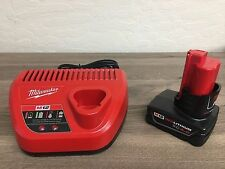 (1) Milwaukee M12 Li-Ion Red Lithium 12V Battery 48-11-2440 & Charger 48-59-2401
