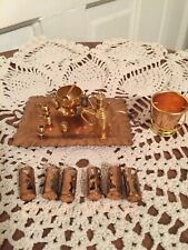 Vintage Miniature Dollhouse Items 1:12 Brass/Copper Punch Bowl Tray Bucket