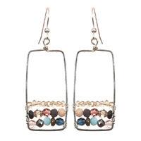 Boho Statement Frame  Multi GEMSTONE EARRINGS Anna Balkan Sterling - Gift Boxed