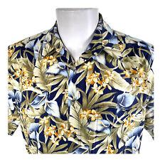 Campia Tropical Flowers Blue Green Orange Large Hawaiian Aloha Shirt