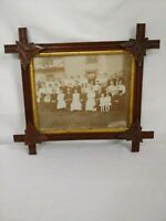 Antique Family Photo in Arts and Crafts Style Frame w/tramp Leaf of Era 1900-15