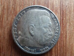 1936 Germany 5 Mark Reichsmark Paul Von Hindenburg Silver Coin