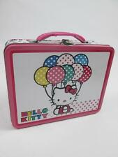 HELLO KITTY CAT PINK WHITE POLKA DOT BICYCLE FLOWERS BALLOON TIN LUNCH BOX NEW