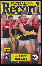 1992 AFL Football Record West Coast Eagles vs Richmond Tigers August 7, 8, 9