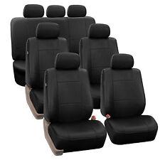 Premium PU Leather Black 7Seater 3 Row Full Set Seat Covers Split Bench Auto Car