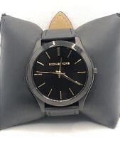 Michael Kors MK8607 Men's Black Leather Analog Black Dial Quartz Watch KS187