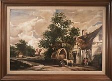 "Paul Kujal Oil Painting on Canvas, ""Old European Village"", Signed, LARGE & MINT!"
