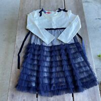Tween Girls Kate Mack Cream Navy Tulle Ruffled Dress Pearls Fancy Size 10