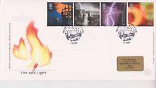 GB Royal Mail FDC Cubierta 2000 Fire & Light sello conjunto Edimburgo PMK Pegatina