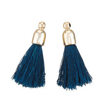 Cotton Tassel Charms & Gold Plated Cap Petrol Blue Pack of 2 (K70/2)