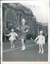 1944 Old & Young Drum Majorettes Twirling Batons Army Day Parade NY Press Photo
