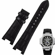 Black Leather Strap Band fit for PP PatekPhilippe Watch Nautilus 25mm x 12mm