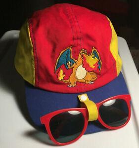 90's Vintage Pokemon Hat Charizard Blazing with Child Size Sunglasses Strap Back