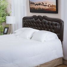 Contemporary Adjustable Brown Leather Headboard for Full/Queen