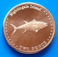 Nightingale Island 2 pence 2011 UNC Fish unusual coinage