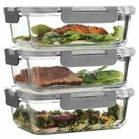 Superior GLASS MEAL PREP CONTAINERS - 3-pack (35oz) 100% Leak Proof Containers
