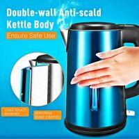 Electric Tea Kettle Stainless Steel DOUBLE-WALLED Water Heater Fast Boiler 1.8L
