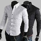 New Mens Slim Fit Casual Spot Cotton Dress Shirt Fashion 2 Colors 4 Size