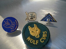 SCOUT WOLF CUB GIRL GUIDE VINTAGE OLD BADGE PINS LOT BE PREPARED LAPEL PATCH HAT