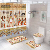 Egyptian Shower Curtain Bathroom Rug Set Thick Bath Mat Toilet Lid Cover