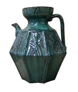 Chinese Vintage Dark Green Glaze Octagon Ceramic Jar cs2379