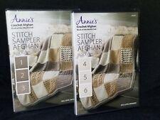 Annie's Crochet Afghan Stitch Sampler 1-6 LOT DVD Set Blocks 1-3+4-6 Beginner