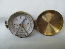 "Original Vintage Germany Brass Pocket Compass / 1 1/2"" Diameter/ Works Fine"