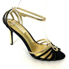 Ralph Lauren Stiletto Pumps 8 B Black Suede Gold Snakeskin Ankle Strap Open Toe